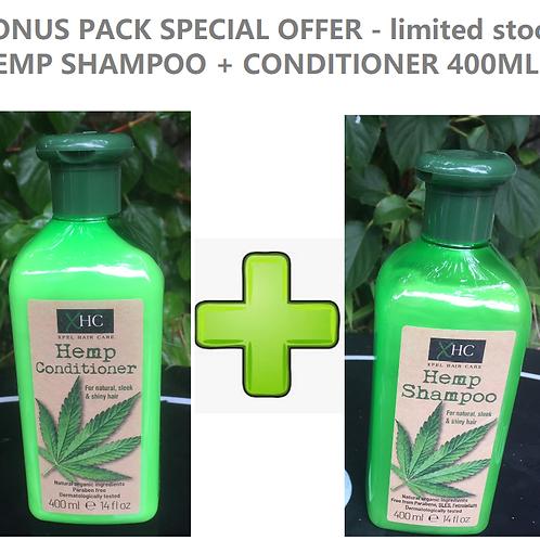 BONUS PACK - HEMP SHAMPOO + CONDITIONER(400ML X2) - LIMITED STOCK