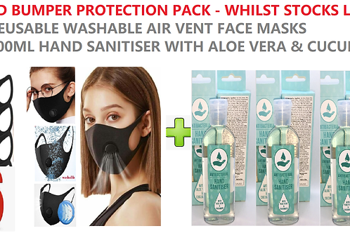 COVID 19 VIRUS BUMPER PACK PROTECTION - (6)REUSE FACE MASKS + (3)100ML Sanitiser