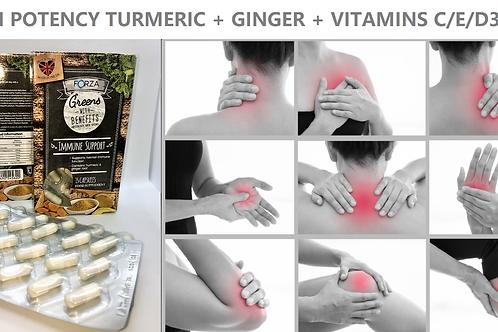 TURMERIC Curcumin+GINGER ROOT + VITS C/D3/E/CAPSULES PACK X 2 IMMUNITY ARTHRITIS