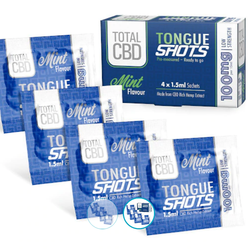 tenacious hemp Tongue Shots Mint Sachets 100MG