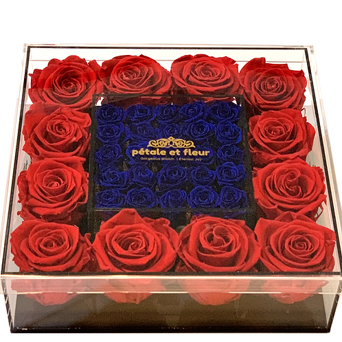 Red  with mini blue roses