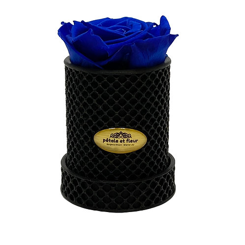 Single blue rose in a 3-D printed box
