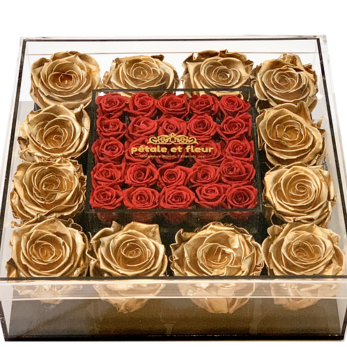 Gold with mini burgundy roses
