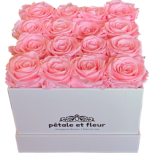 Monet collection white box with sixteen pink roses