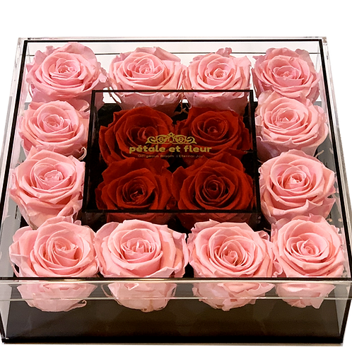 Pink with red roses