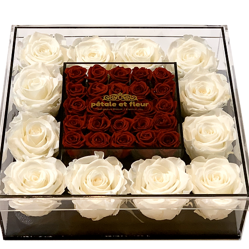 White with mini burgundy roses