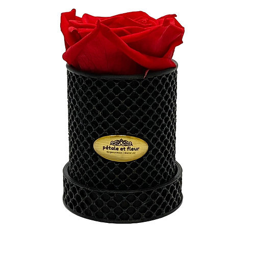 Single red rose in a 3-D printed box