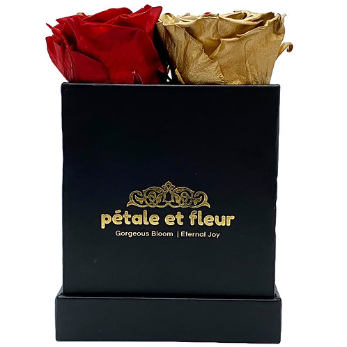 Monet collection black box with  burgundy and gold color roses