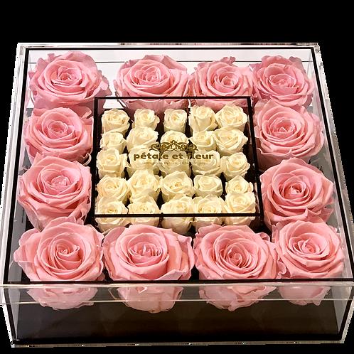 Twelve pink with twenty five mini white roses
