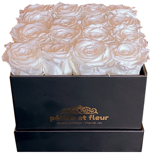 Monet collection black box with sixteen white roses