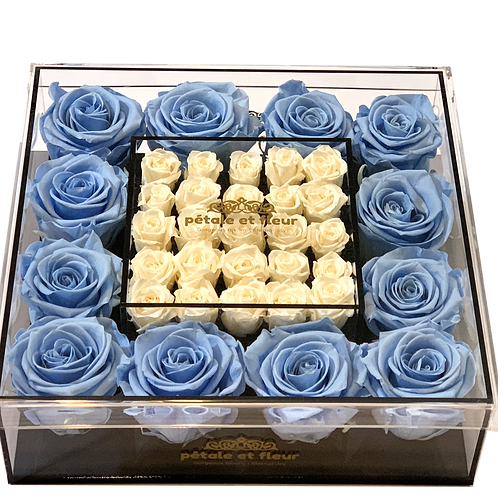 Baby blue with mini white roses