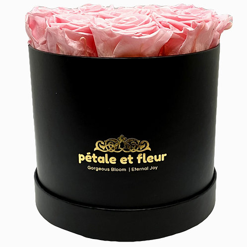 Twelve pink roses in a round black box