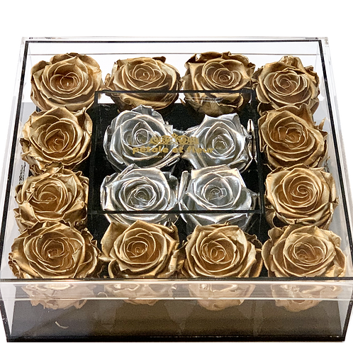 Gold with silver roses