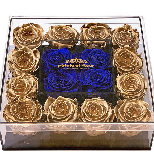 Gold color with blue roses