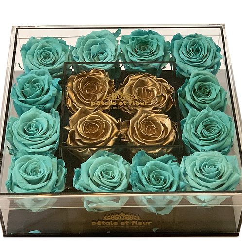 Mint green with gold color roses