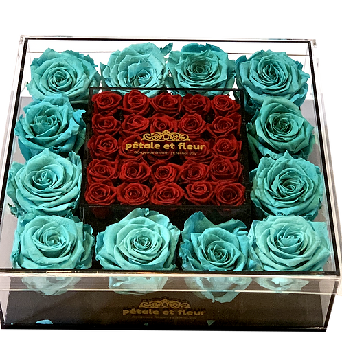 Mint green with mini burgundy roses