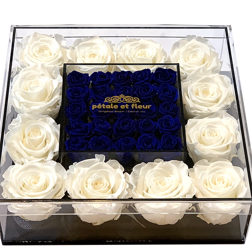 White with mini blue roses