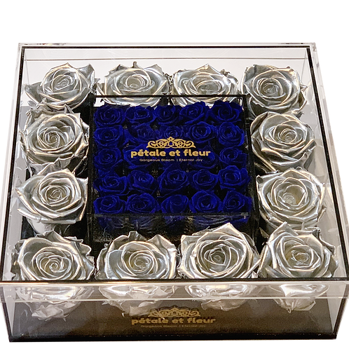 Silver with mini blue roses