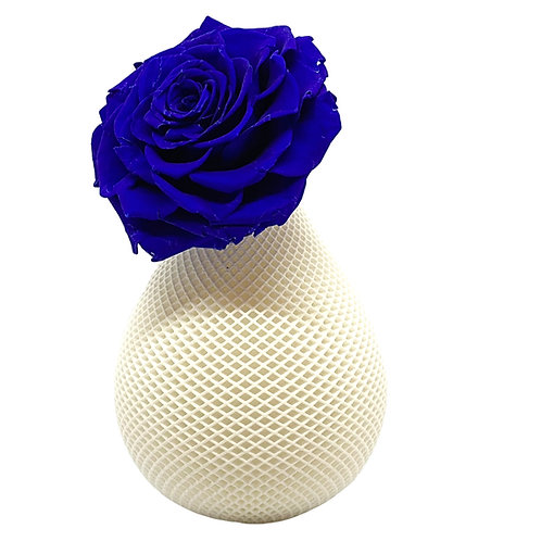 Single large blue rose in a 3-D printed box