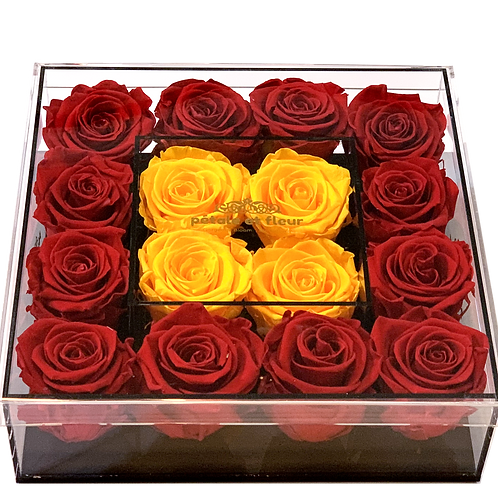 Red with yellow gold roses