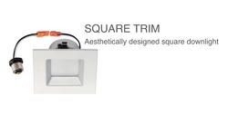 Square trim LED lighting retrofit kit