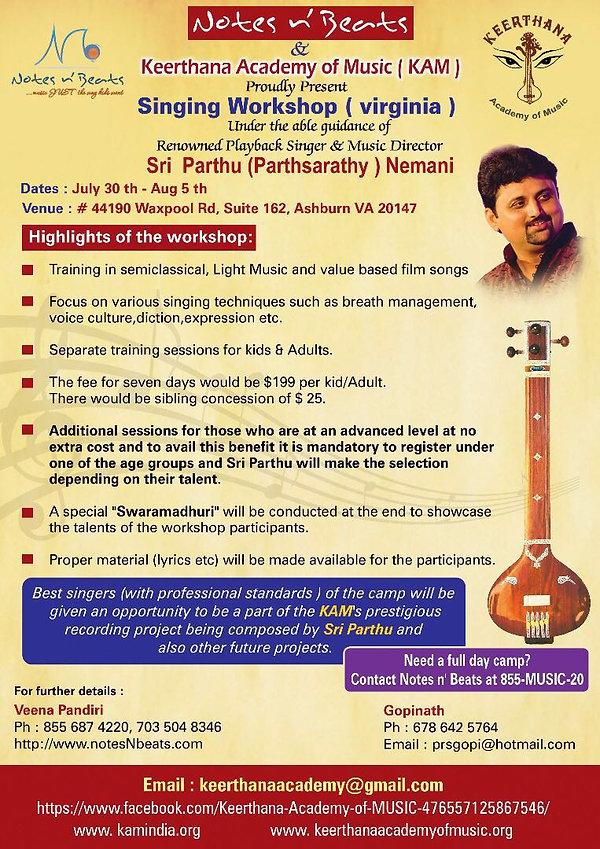 parthsarathy notesnbeats singing workshop