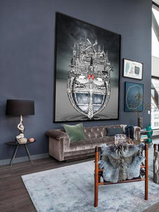 Copenhagen artwork hanging in room
