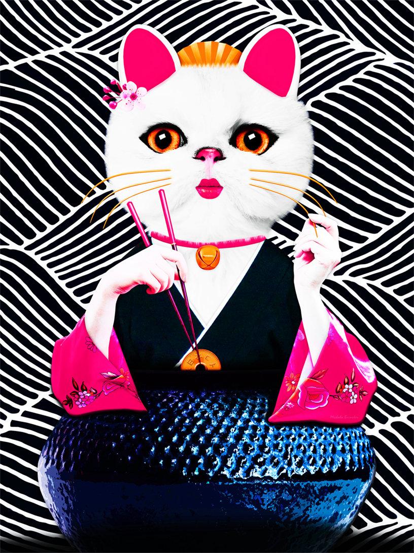 Cat_art_LUCKY_MANEKI_NEKO_art_Michala_Br