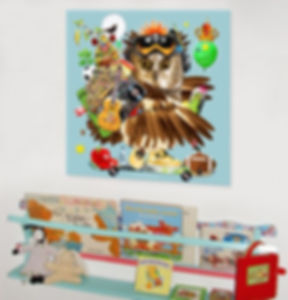 Owl artwork for kids walls