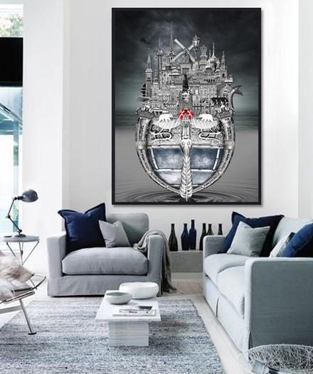 Copenhagen artwork hanging on white wall