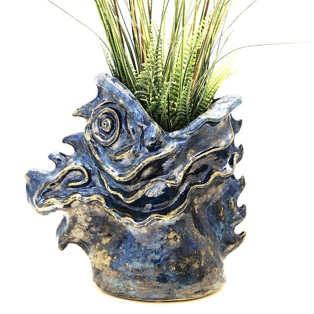 Blue FISH sculpture