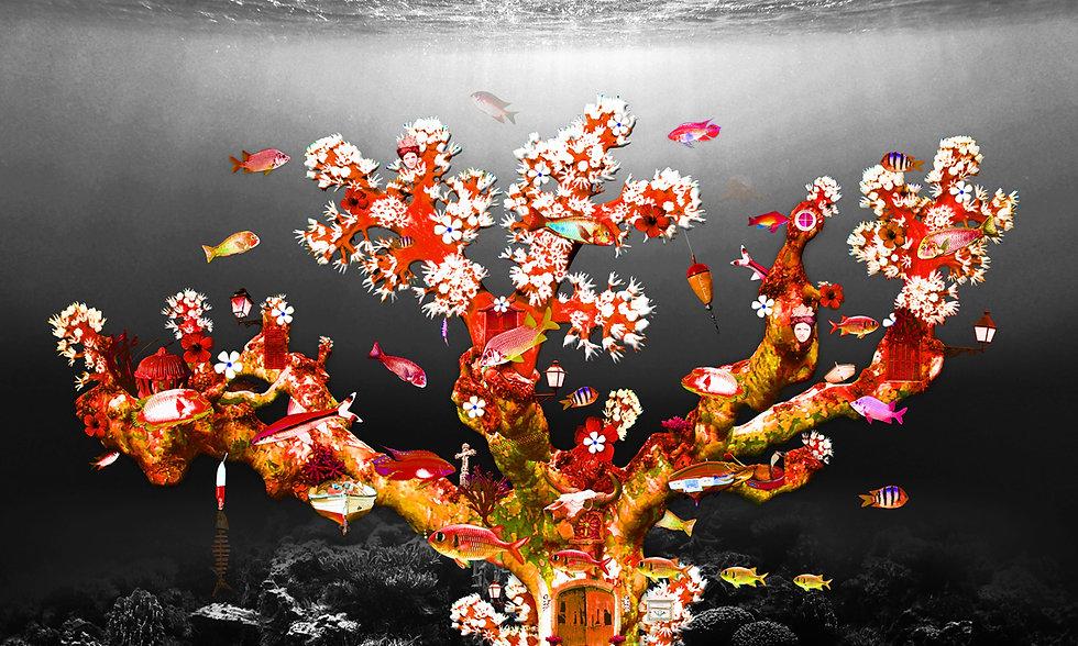 Red_fish_coral_reef_artwork_Michala_Brin