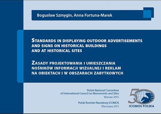 Strona tytułowa poradnika dot. reklam i szyldów opracowana przez ICOMOS