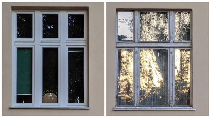 Okno historyczne i współczesne w kamienicy przy ul. Jagiellońskiej 27 w Olsztynie