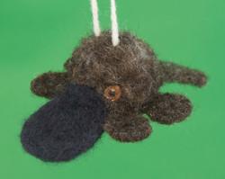 Needle felted platypus ornament