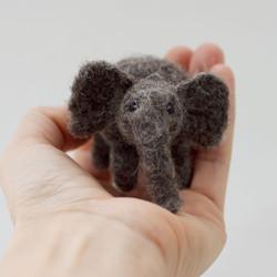 Needle felted elephant ornament