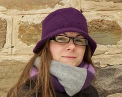 Felted wool bucket hat in purple