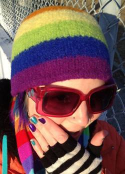 Custom rainbow toque by Lynn's Lids