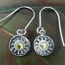 Hand stamped rhinestone daisy earrings made by Merideth Young
