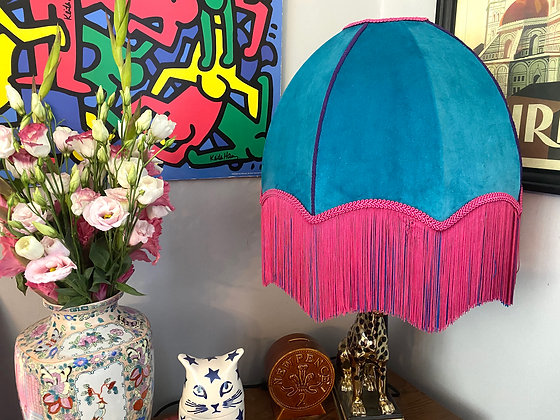 Teal Velvet Dome Shade with Pink/Blue Fringe