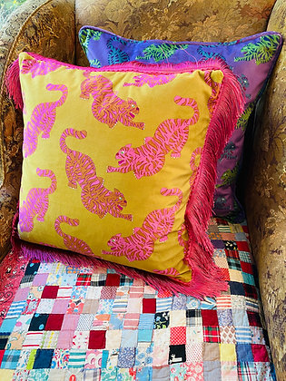 Psychedelic Tigers Mustard Velvet Cushion with Pink Fringe