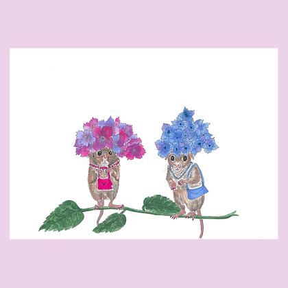 Hydrangea Mice Print