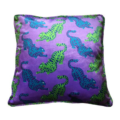 Psychedelic Tigers Velvet Cushion in Purple