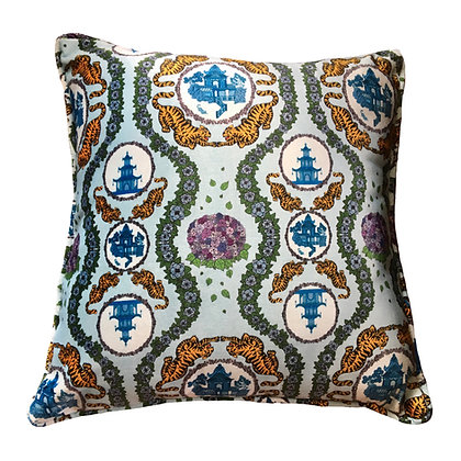 Tiger Chinoiserie Velvet Cushion in Blue