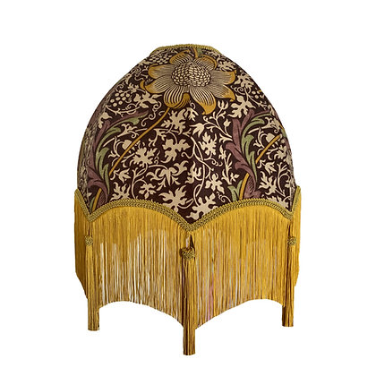 Morris Floral Print Dome Lamp Shade with Gold Fringe and Tassels