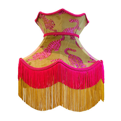 Mustard & Pink Psychedelic Tigers Velvet Crown Shade