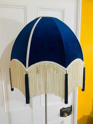 Navy Velvet Dome Shade with Cream Fringe and Blue Tassels