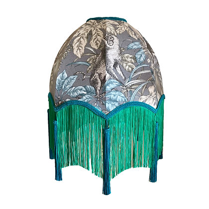 Monkey Palm Print Scalloped Dome Shade In Grey,Green Fringe and Blue Tassels