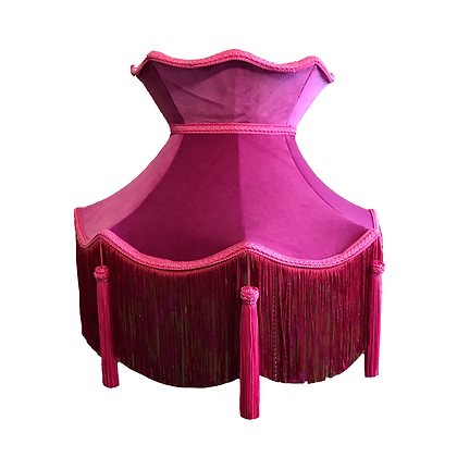 Pink Velvet Crown Shade with Red Fringe and Pink Tassels
