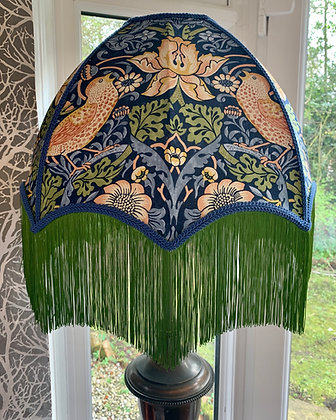 Morris Strawberry Thief Dome Shade with Green Fringe